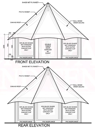 Bateleur Canvas Tent Front and Rear Elevation
