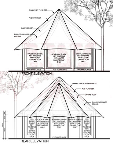 Kingfisher Single Canvas Tent Elevation